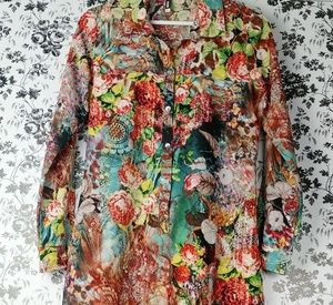 Yashi colorful mixed print long sleeve shirt dress